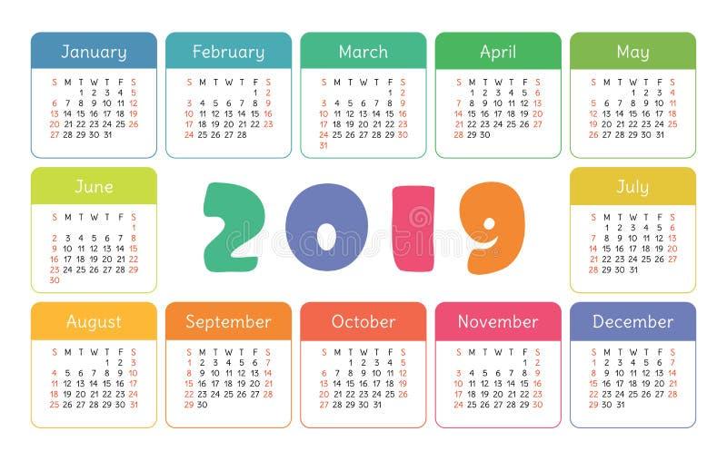Ημερολόγιο 2019 τσεπών Βασικό απλό πρότυπο Ενάρξεις εβδομάδας την Κυριακή Ζωηρόχρωμος αστείος, κάρτα παιδιών ` s διανυσματική απεικόνιση
