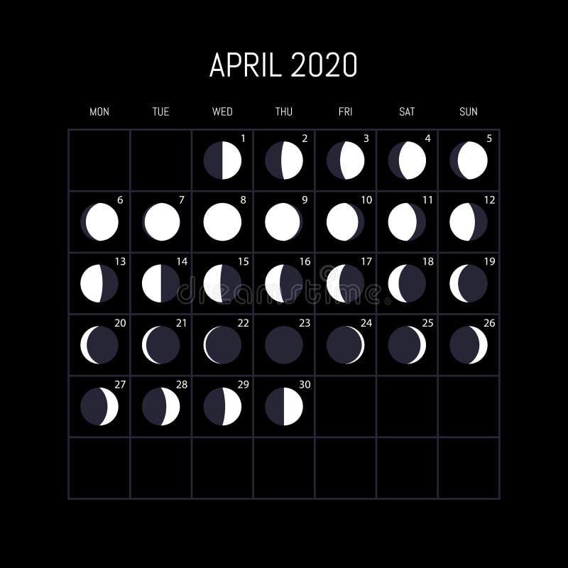 Ημερολόγιο φάσεων φεγγαριών για το έτος του 2020 apse Σχέδιο υποβάθρου νύχτας r διανυσματική απεικόνιση