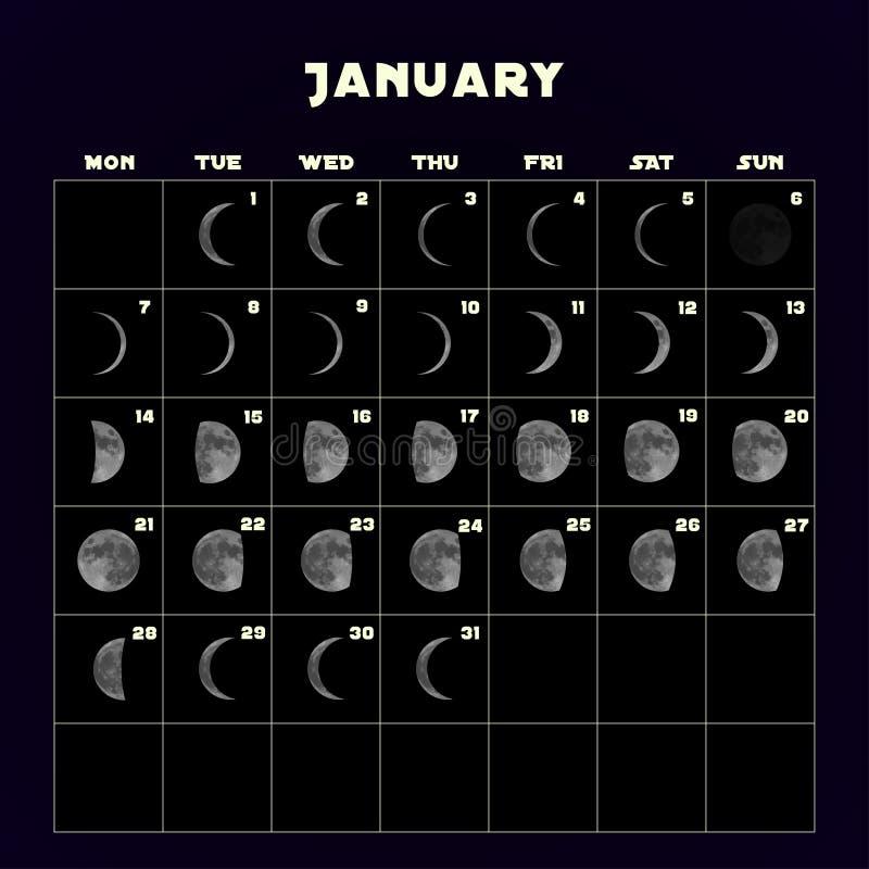 Ημερολόγιο φάσεων φεγγαριών για το 2019 με το ρεαλιστικό φεγγάρι Ιανουάριος διάνυσμα διανυσματική απεικόνιση