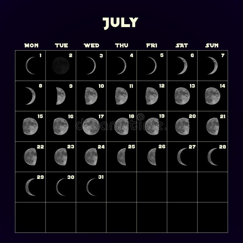 Ημερολόγιο φάσεων φεγγαριών για το 2019 με το ρεαλιστικό φεγγάρι Ιούλιος διάνυσμα διανυσματική απεικόνιση