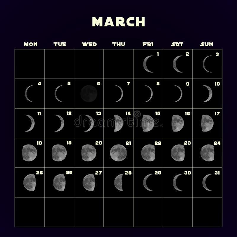 Ημερολόγιο φάσεων φεγγαριών για το 2019 με το ρεαλιστικό φεγγάρι Μάρτιος διάνυσμα διανυσματική απεικόνιση