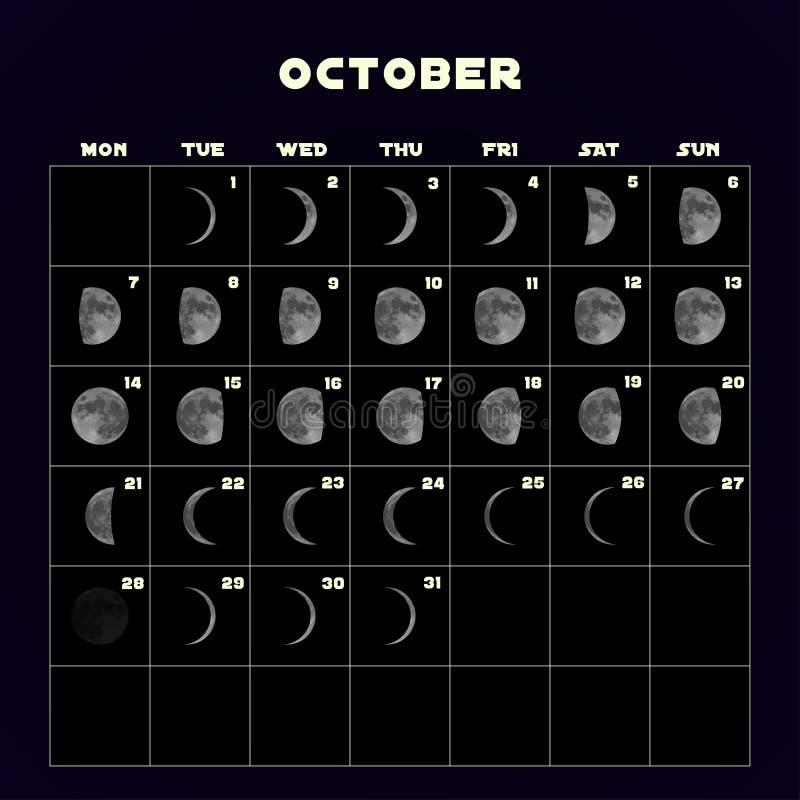 Ημερολόγιο φάσεων φεγγαριών για το 2019 με το ρεαλιστικό φεγγάρι Οκτώβριος διάνυσμα απεικόνιση αποθεμάτων