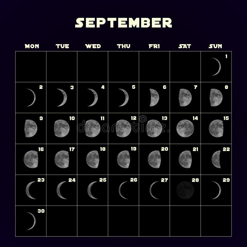 Ημερολόγιο φάσεων φεγγαριών για το 2019 με το ρεαλιστικό φεγγάρι Σεπτέμβριος διάνυσμα απεικόνιση αποθεμάτων