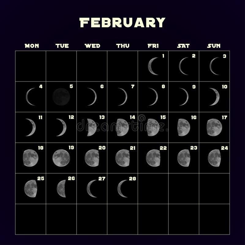 Ημερολόγιο φάσεων φεγγαριών για το 2019 με το ρεαλιστικό φεγγάρι Φεβρουάριος διάνυσμα απεικόνιση αποθεμάτων