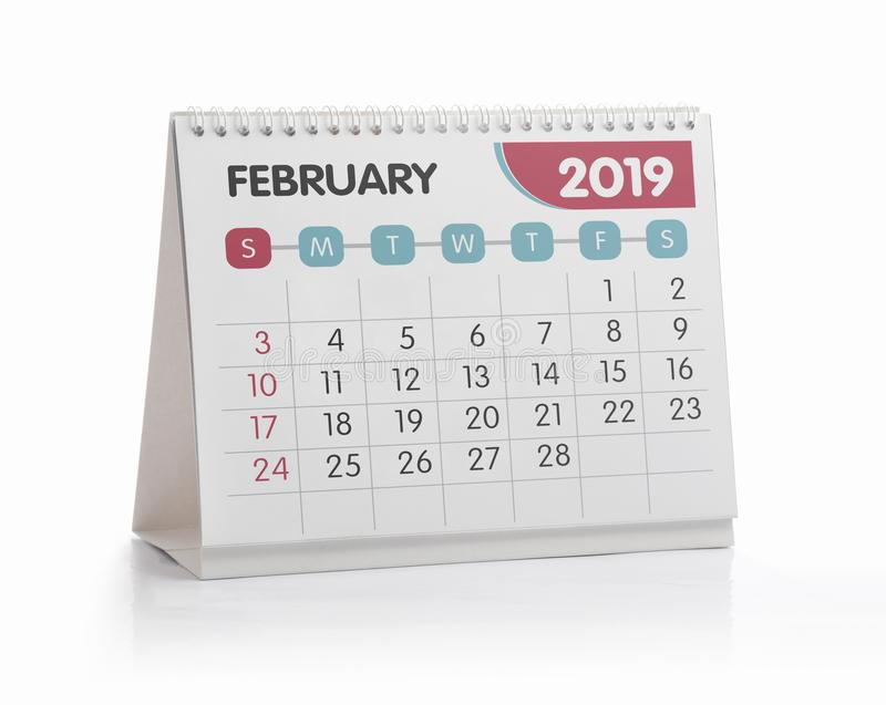 Ημερολόγιο 2019 Φεβρουάριος γραφείων στοκ εικόνες με δικαίωμα ελεύθερης χρήσης
