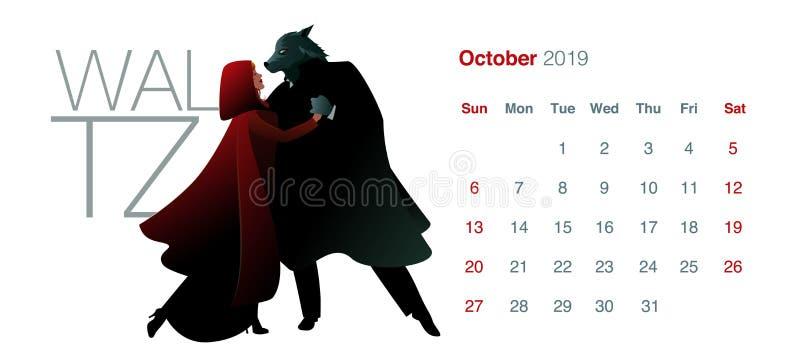 2019 ημερολόγιο χορού Οκτώβριος Λίγη κόκκινη οδηγώντας κουκούλα και το βαλς χορού λύκων απεικόνιση αποθεμάτων