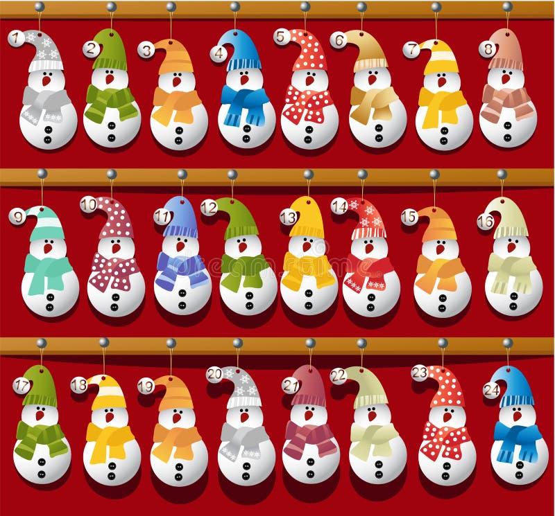 Ημερολόγιο Χριστουγέννων με τους χιονανθρώπους απεικόνιση αποθεμάτων
