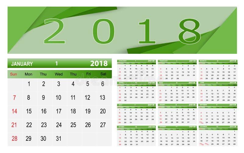 Ημερολόγιο-2018 απεικόνιση αποθεμάτων