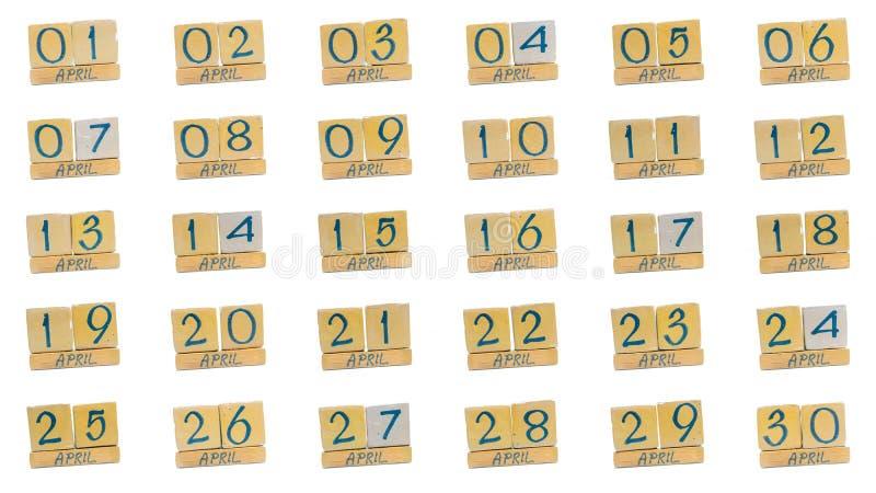 ημερολόγιο apse πλήρης μήνας μέρα με τη μέρα όλες οι ημερομηνίες του μήνα στη διαταγή Χειροποίητο ξύλινο ημερολόγιο κύβων στοκ εικόνες