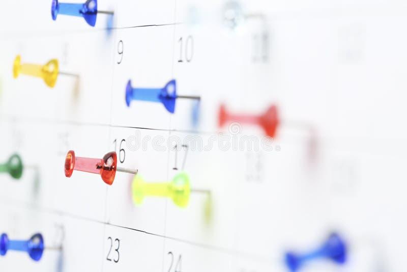 ημερολόγιο pushpins στοκ εικόνες
