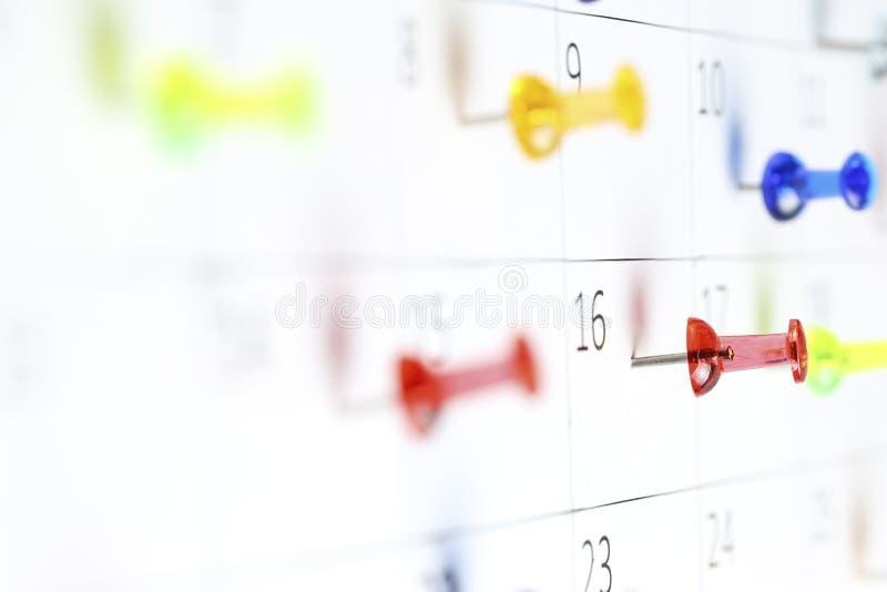 ημερολόγιο pushpins στοκ φωτογραφίες