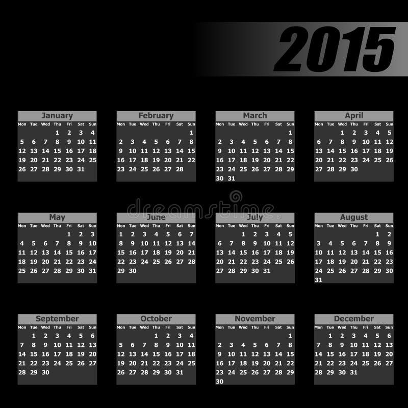 Ημερολογιακή 2015 Δευτέρα πρώτα διανυσματική απεικόνιση