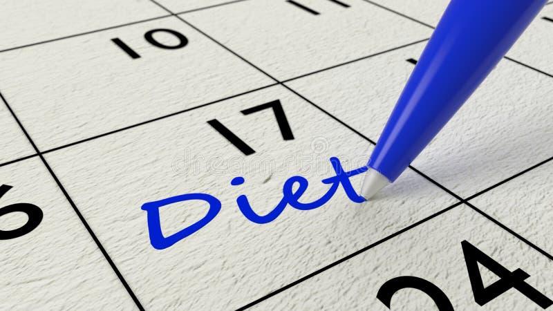 Ημερολογιακή είσοδος εγγράφου διατροφής και μπλε μάνδρα απεικόνιση αποθεμάτων