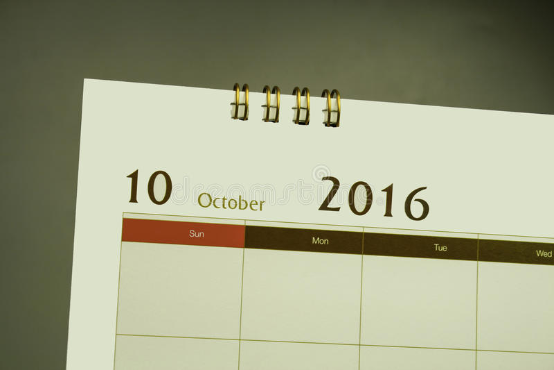 Ημερολογιακή σελίδα του μήνα 2016 στοκ εικόνα με δικαίωμα ελεύθερης χρήσης
