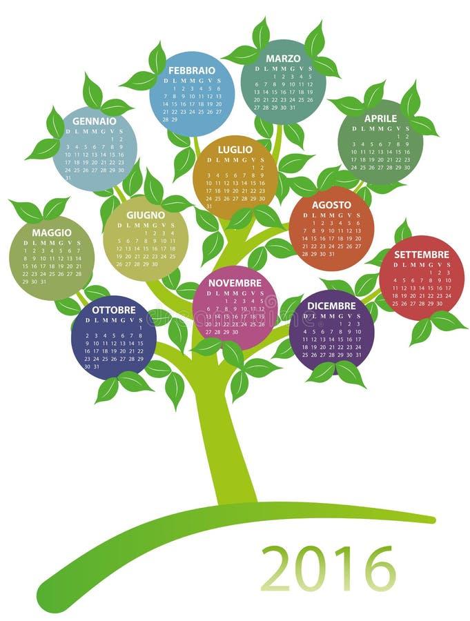 Download ημερολογιακό δέντρο του 2016 Διανυσματική απεικόνιση - εικονογραφία από ημερολόγιο, κύκλος: 62702138