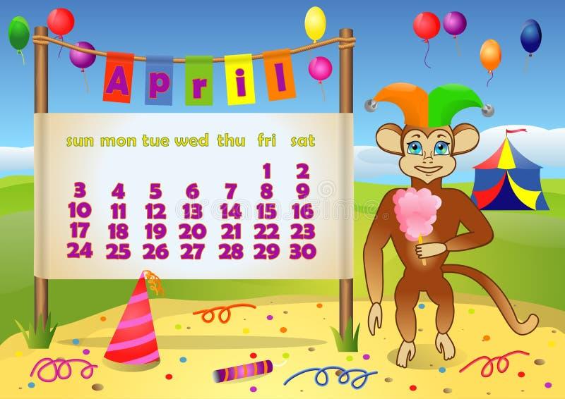 Ημερολογιακό 2016 έτος με τον πίθηκο apse ελεύθερη απεικόνιση δικαιώματος
