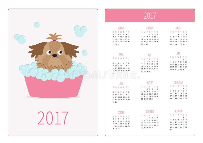Ημερολογιακό 2017 έτος τσεπών Η εβδομάδα αρχίζει την Κυριακή Επίπεδο πρότυπο προσανατολισμού σχεδίου κάθετο Λίγο σκυλί Shih Tzu μ ελεύθερη απεικόνιση δικαιώματος