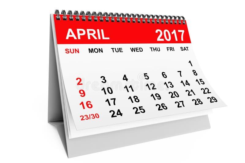 Ημερολογιακό τον Απρίλιο του 2017 τρισδιάστατη απόδοση ελεύθερη απεικόνιση δικαιώματος