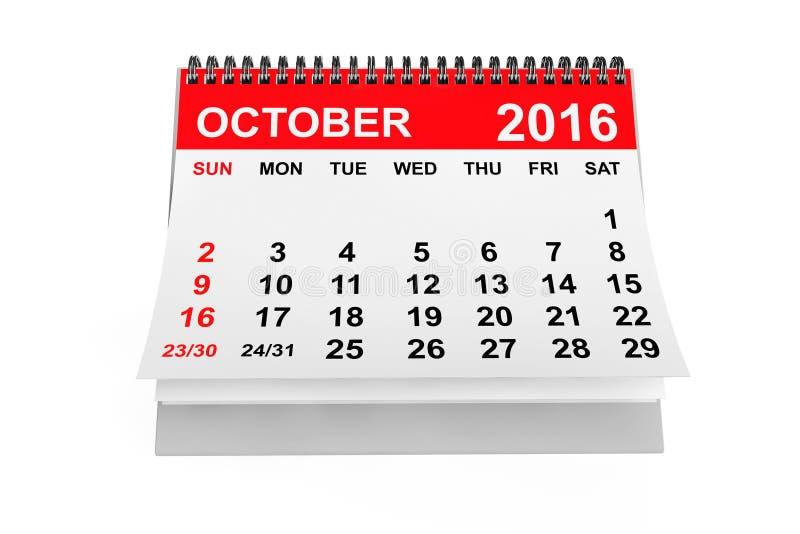 Ημερολογιακό τον Οκτώβριο του 2016 τρισδιάστατη απόδοση ελεύθερη απεικόνιση δικαιώματος
