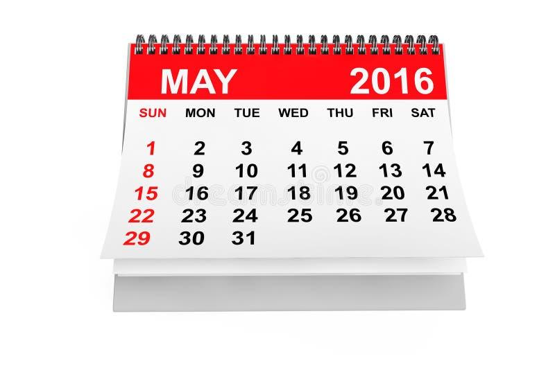 Ημερολογιακό το Μάιο του 2016 διανυσματική απεικόνιση