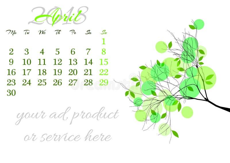 Ημερολογιακό φύλλο για το τις 2018 Απριλίου με τον κλάδο δέντρων ελεύθερη απεικόνιση δικαιώματος