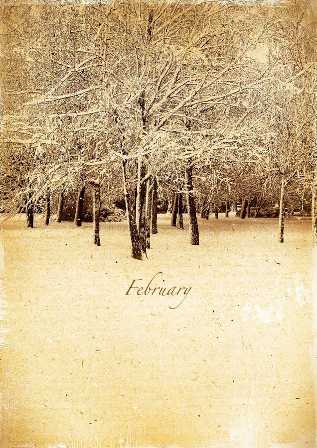 Ημερολόγιο αναδρομικό. Φεβρουάριος. Εκλεκτής ποιότητας χειμερινό τοπίο στοκ εικόνα