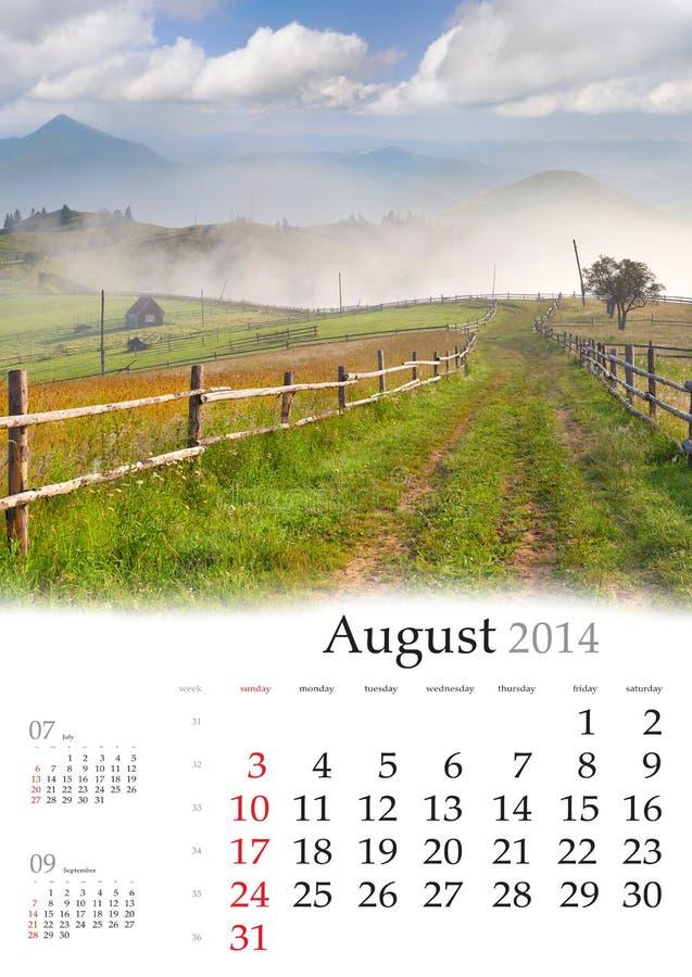 2014 ημερολόγιο. Αύγουστος. στοκ φωτογραφίες
