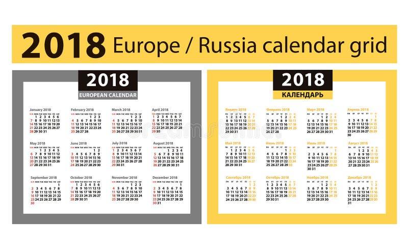 Ημερολόγιο για το έτος του 2018 Ευρωπαϊκά και ρωσικά πλέγματα στήλες τέσσερα στοκ εικόνες