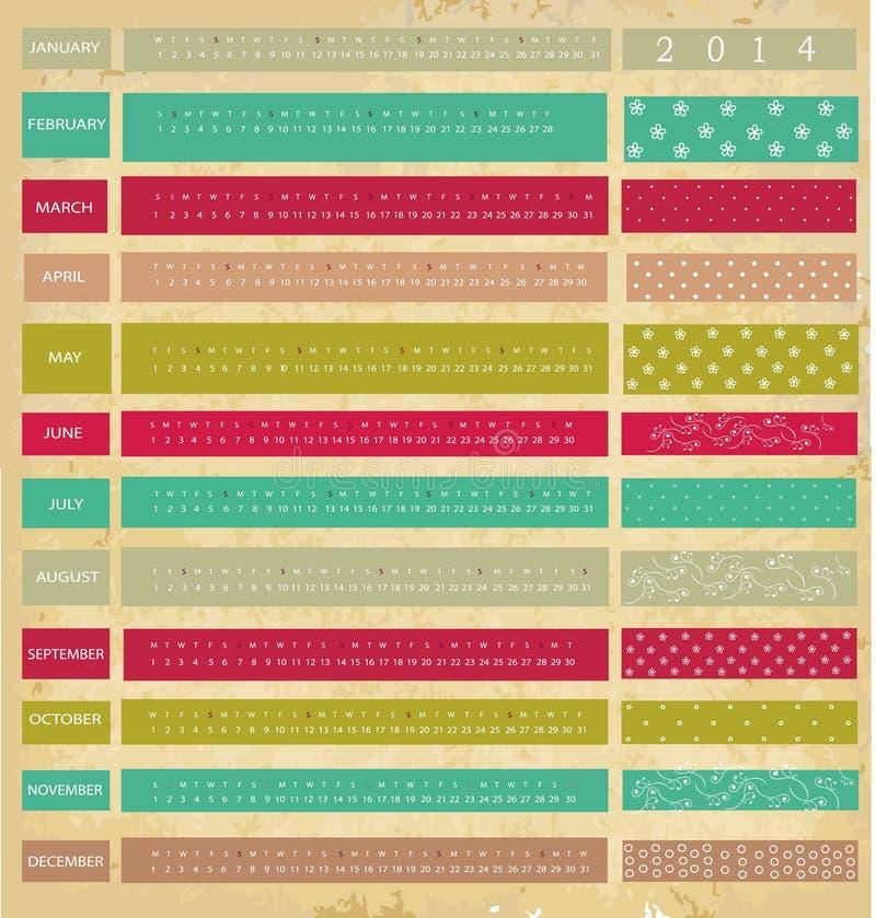 Ημερολόγιο για το έτος του 2014 διανυσματική απεικόνιση