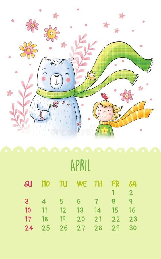 Ημερολόγιο για το 2016 με τις χαριτωμένες απεικονίσεις με το χέρι απεικόνιση αποθεμάτων