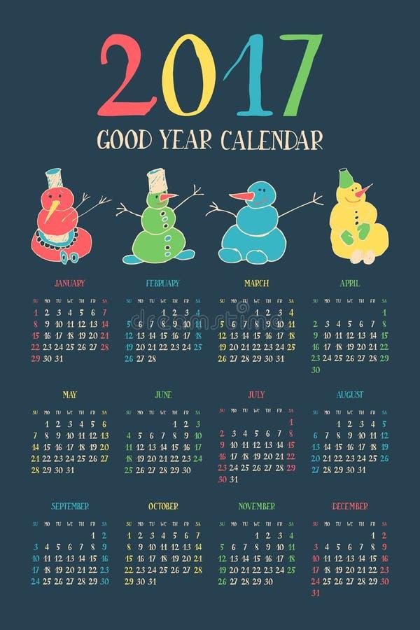 Ημερολόγιο για το νέο έτος 2017 ελεύθερη απεικόνιση δικαιώματος