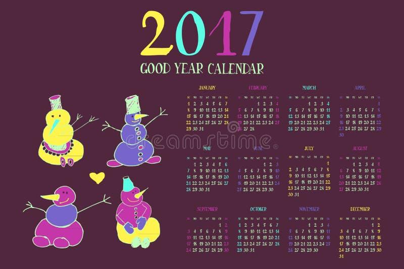 Ημερολόγιο για το νέο έτος 2017 διανυσματική απεικόνιση