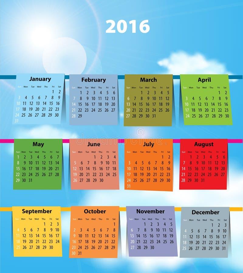 Ημερολόγιο για το 2016 όπως το πλυντήριο στη σκοινί για άπλωμα ελεύθερη απεικόνιση δικαιώματος
