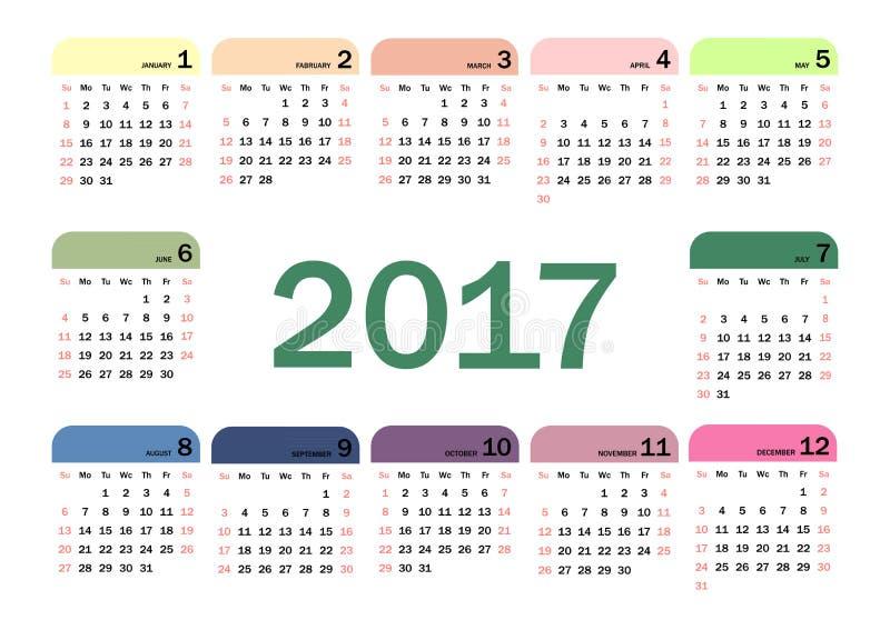 Ημερολόγιο για το 2017 διανυσματική απεικόνιση