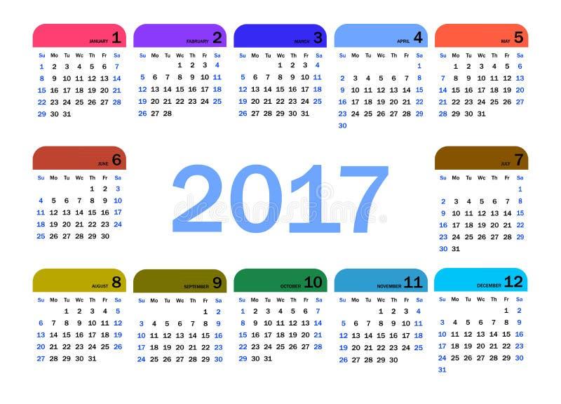 Ημερολόγιο για το 2017 ελεύθερη απεικόνιση δικαιώματος