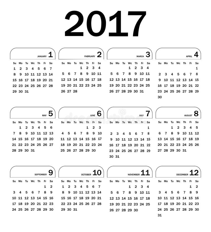 Ημερολόγιο για το 2017 απεικόνιση αποθεμάτων
