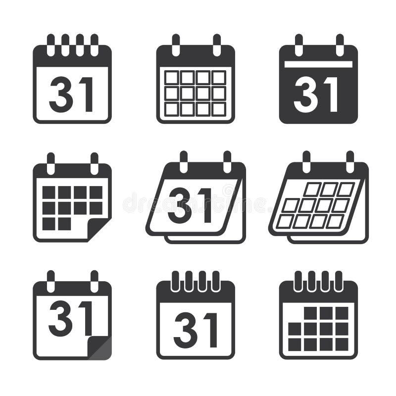 Ημερολόγιο εικονιδίων διανυσματική απεικόνιση