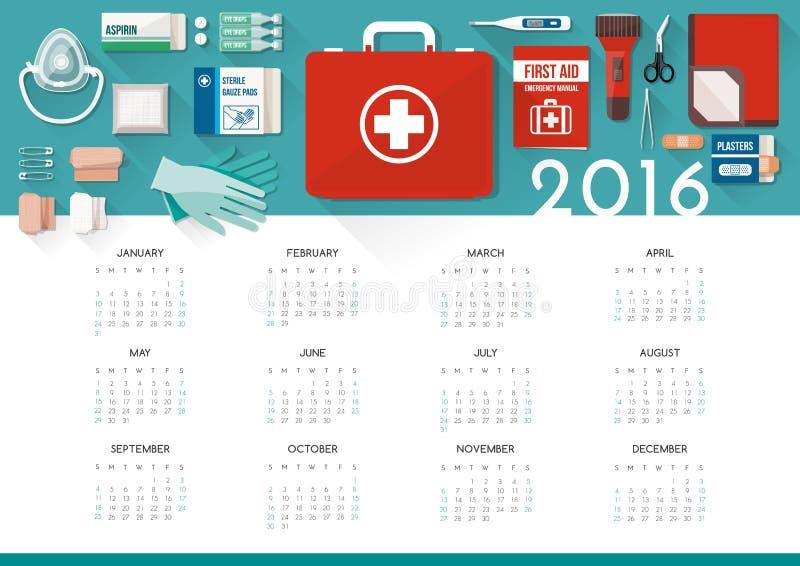Ημερολόγιο 2016 εξαρτήσεων πρώτων βοηθειών ελεύθερη απεικόνιση δικαιώματος