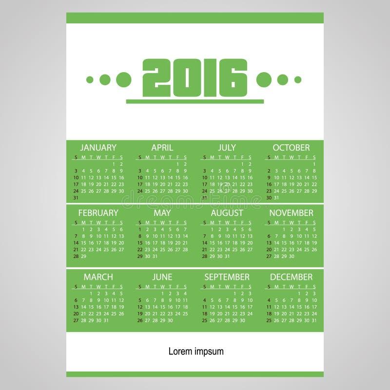 ημερολόγιο επιχειρησιακών τοίχων του 2016 απλό πράσινο και άσπρο eps10 ελεύθερη απεικόνιση δικαιώματος