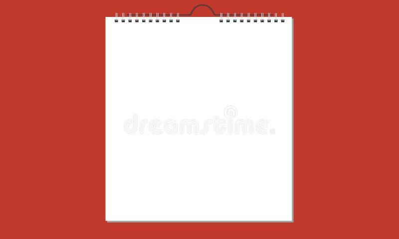 Ημερολόγιο κενών τοίχων με την άνοιξη, σχέδιο καρτών διάνυσμα απεικόνιση αποθεμάτων