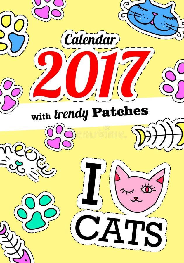 Ημερολόγιο 2017 με τις γάτες Στα κωμικά μπαλώματα, τις καρφίτσες και τις αυτοκόλλητες ετικέττες μόδας ύφους της δεκαετία του '80- διανυσματική απεικόνιση