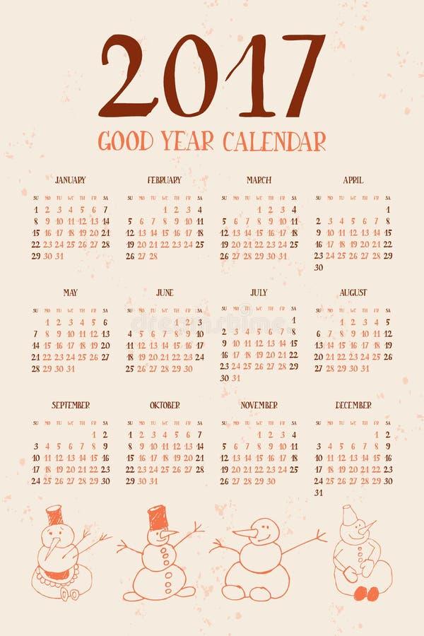 Ημερολόγιο με τους χιονανθρώπους 2017 απεικόνιση αποθεμάτων