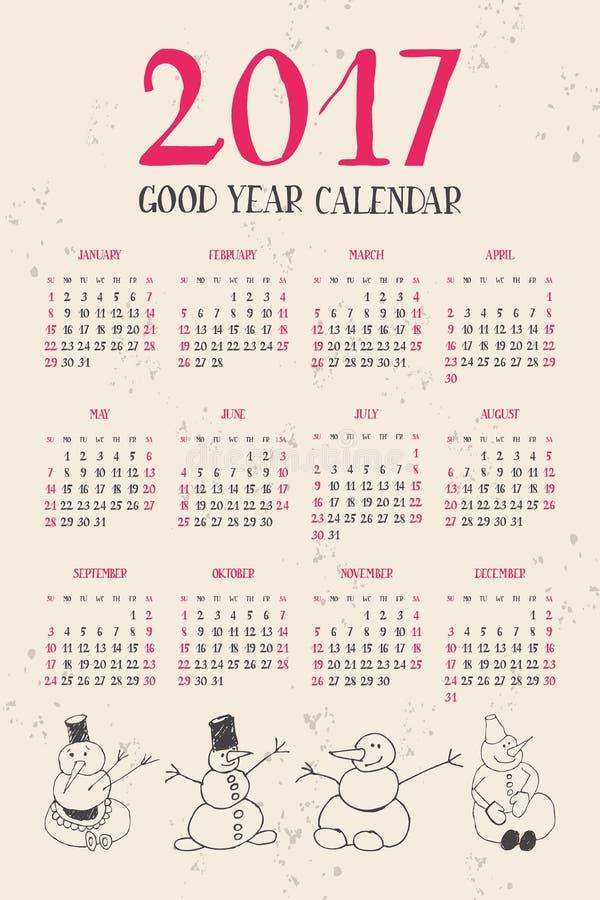 Ημερολόγιο με τους χιονανθρώπους 2017 ελεύθερη απεικόνιση δικαιώματος