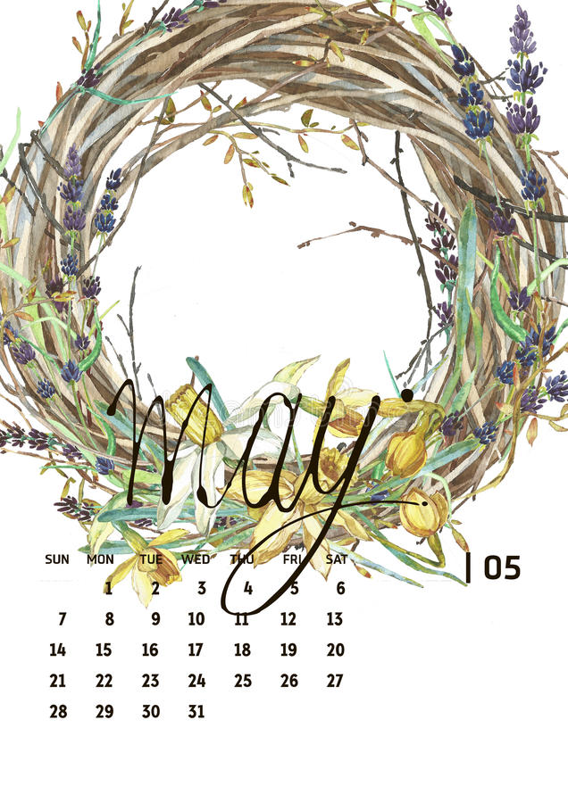 Ημερολόγιο 2017 Πρότυπα με τα illustations watercolor απεικόνιση αποθεμάτων
