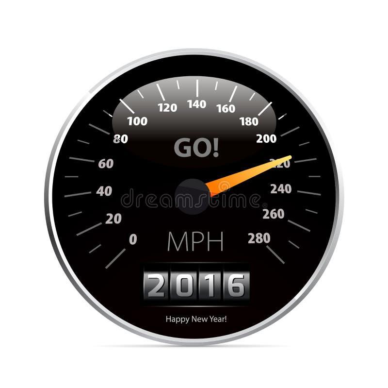 Ημερολόγιο 2016 στο αυτοκίνητο ταχυμέτρων απεικόνιση αποθεμάτων
