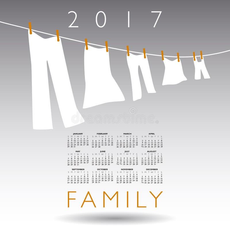 ημερολόγιο του 2017 με μια οικογενειακή έννοια διανυσματική απεικόνιση