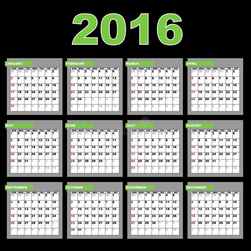 ημερολόγιο του 2016 διανυσματική απεικόνιση
