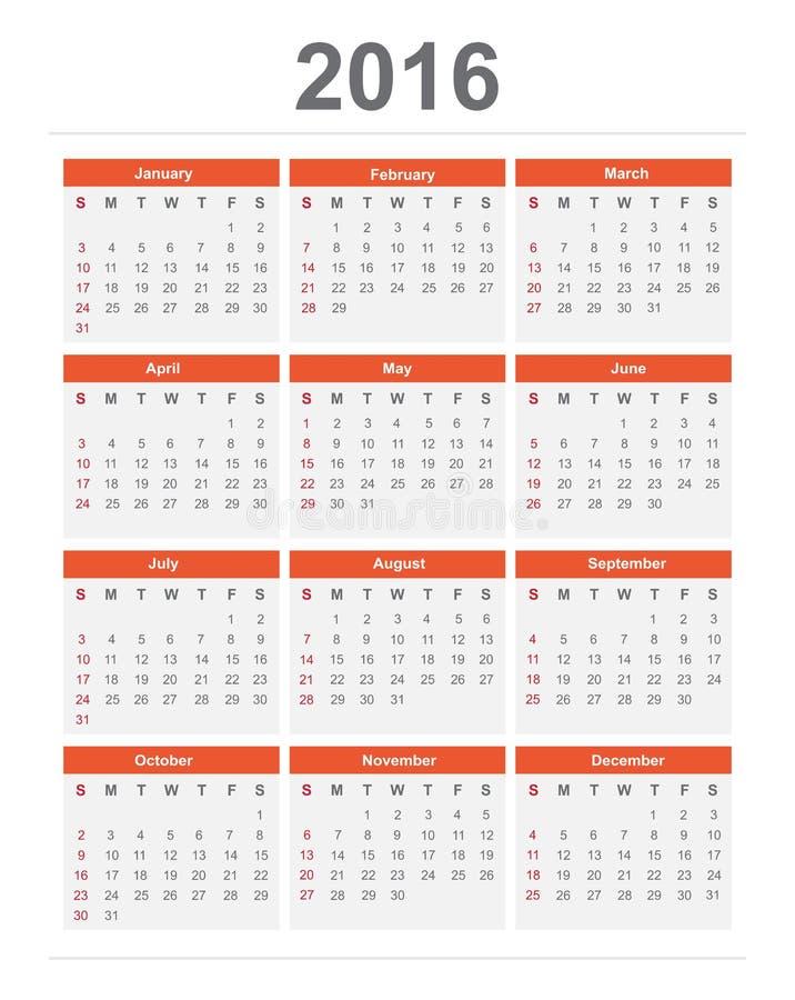 ημερολόγιο του 2016 ελεύθερη απεικόνιση δικαιώματος