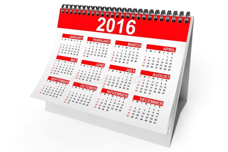 ημερολόγιο υπολογιστών γραφείου έτους του 2016 απεικόνιση αποθεμάτων