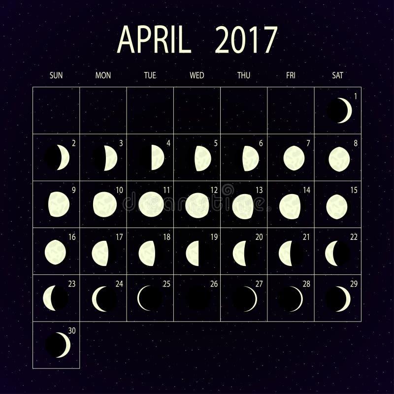 Ημερολόγιο φάσεων φεγγαριών για το 2017 apse επίσης corel σύρετε το διάνυσμα απεικόνισης διανυσματική απεικόνιση